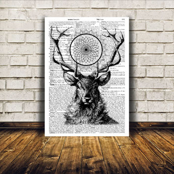 Mandala Deer poster Stag print Animal art home decor TO5