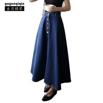Women Denim Skirt Fashion High Waist Midi Skirt Korean Large Size Zipper Buckle Preppy Girl Matched All Season Blue Jeans Skirt
