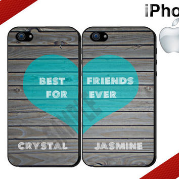Best Friends iPhone Case - iPhone 4 Case or iPhone 5 Case - Gray Wood and Heart iPhone Case - Personalized iPhone Case - Two Case Set