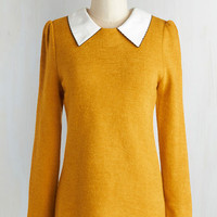 Vintage Inspired, Scholastic Mid-length Long Sleeve Wine Appreciation Sweater in Goldenrod
