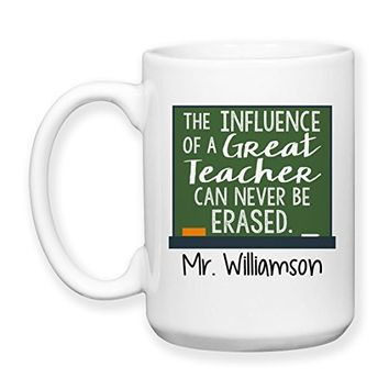Coffee Mug, 15 oz, by Groovy Giftables - Personalized The Influence Of A Great Teacher Can Never Be Erased 002