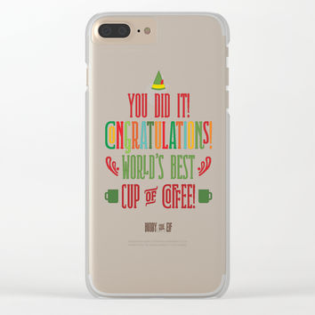 Buddy the Elf! World's Best Cup of Coffee Clear iPhone Case by noondaydesign