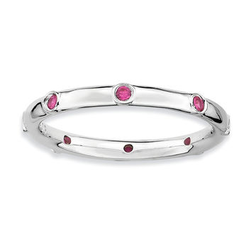 925 Sterling Silver Bezel Set 9-Stone Round Form Syn. Created Ruby Ring: Size: 6