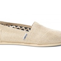 TOMS Gold Burlap Metallic Women's Classics Slip-On Shoes,