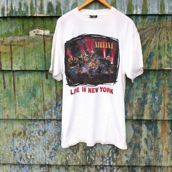 730ef8f3770cb Rare Vintage 90 s Original NIRVANA Unplugged In New York Shirt Official XL  Grunge Punk Cobain Mudhoney