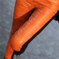 Women Orange Cotton Blends Leggings