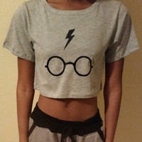 Harry potter Inspired Lightning Bolt and Glasses Cropped   Tshirt
