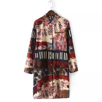 2016 spring summer cotton and linen ethnic Graffiti printed plus size women's clothing long sleeve long shirt blouse real photo
