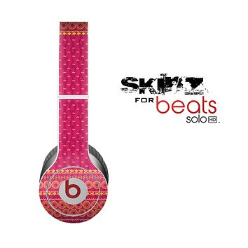 The Tall Pink & Orange Vintage Pattern Skin for the Beats by Dre Solo-Solo HD Headphones