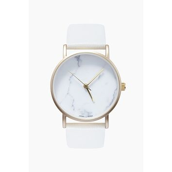 All White Leather Band Watch - White
