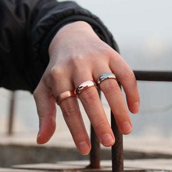 Vinterly Copper Magnetic Ring Mens Matte Finished Health Energy Simple Adjustable Cuff Pure Copper Rings for Men Women Jewelry