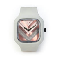 Rose Gold Chevron Watch in a Light Grey Strap