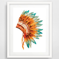 Native American Indian Headdress Watercolor Print, Wall Print, Color, Digital, Download, Printable, Modern Art