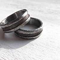 bronze wedding ring set, rustic wedding bands, rustic bronze ring silver, mens wedding bands, his and hers ring, unique wedding rings silver