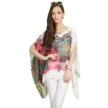 Vintage Scoop Collar Batwing Sleeve Floral Print Asymmetrical Chiffon Women's Blouse
