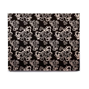 "Mydeas ""Sweetheart Damask Black & White"" Pattern Birchwood Wall Art"