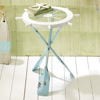 Two's Company Ships Ahoy Accent Table with Oar Legs and Glass Wheel Tabletop - 24-in
