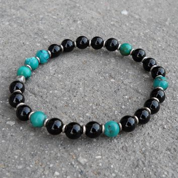 Communication and Patience, Turquoise and Onyx Mala Bracelet