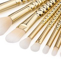 8pcs Pro Makeup Brushes Set Nylon Foundation Powder Face Eye Blush Blending Honeycomb Gold Color Metal Cosmetic Make Up Tools