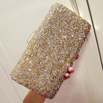 2017 Luxury Women Flower Diamond Evening Bag Metal Crystal Wedding Bridal Party Purse Day Clutches Chains Handbags Shoulder bag