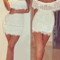 White Strapless Bodycon Lace Dress