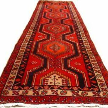 3' x 11' Totemic Design Tribal Red Hamadan Runner Persian Handmade Rug