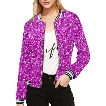 Pink Glitter Women's All Over Print Horizontal Stripes Jacket