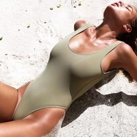 Solid Color Sexy One Piece Swimwear