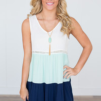 Tiered Colorblock Dress - White/Mint/Navy