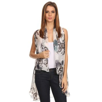 Womens Lightweight Open Front Sleeveless Poncho.