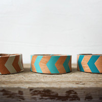 Womens Chevron Stacking Bracelets - Womens Leather Bracelets - Hand Painted Chevron Ombre - Turquoise and Mint Chevron Arrow Design