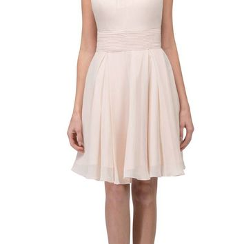 Champagne A-line Short Homecoming Dress Keyhole Neckline