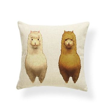 Alpaca Colorful Cushion Case Pillows Living Room Home Decor 43X43Cm