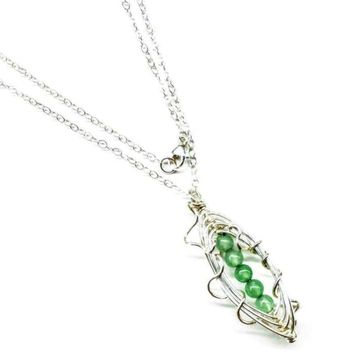 Peas In A Pod Sterling Silver Wire Wrapped Gemstone Necklace