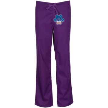 Paw Print Horizon Embroidered Scrub Pant
