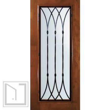 Slab Entry Single Door 80 Wood Alder Warwick Full Lite Wrought Iron