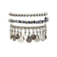 Cobalt Mixed Media Stackable Bracelets - 3 Pack by Charlotte Russe