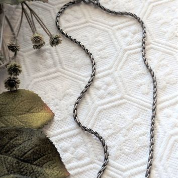 Artisan Crafted Oxidized Sterling Silver Wheat Chain Toggle Clasp Choker/Necklace