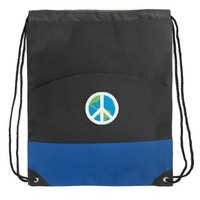 Peace Sign Drawstring Bag World Peace Sign Cinch Backpack Blue