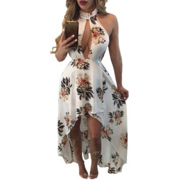 Fashion Sexy print flower chest hollow halter backless long dress