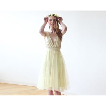 Yellow Tulle Midi Dress 1084