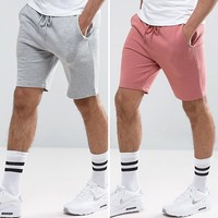 ASOS Jersey Skinny Shorts 2 Pack Pink/Gray Marl SAVE at asos.com