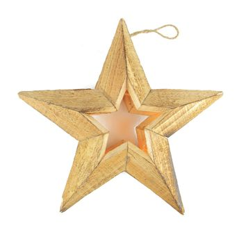 "11.5"" Pre-Lit Battery Operated Warm Clear LED Country Rustic Wooden Star Christmas Decoration"