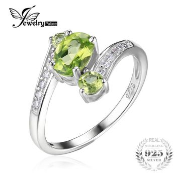 JewelryPalace 925 Sterling Silver 1.1ct Natural Green Peridot 3 Stone Anniversary Ring Oval Fashion Gift For Women Fine Jewelry