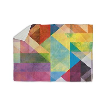 "Mareike Boehmer ""Color Blocking II"" Rainbow Abstract Sherpa Blanket"
