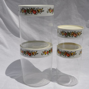 Vintage Pyrex Spice O' Life Canister Set, Store 'N' See Canister Retro