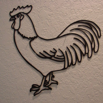 Plasma Cut Metal Country Rooster Wall Art