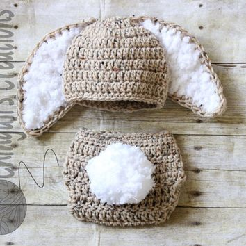 Crochet Bunny Hat and Diaper Cover Set Easter Bunny Crochet Hat and Diaper Cover Set Baby Bunny Photo Props