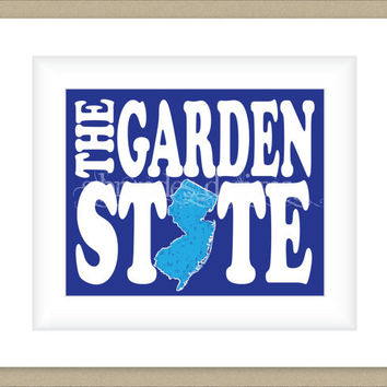 8x10 New Jersey Print, Blue Garden State Map Art Custom Colors