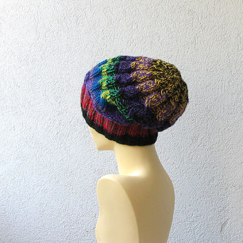 Handmade Knitt Cable Hat Beanien Slouchy Multicolor Hat Beanie Large for Men and Women MELANGE Oversized Hat - Chunky Knit Cable knit hat